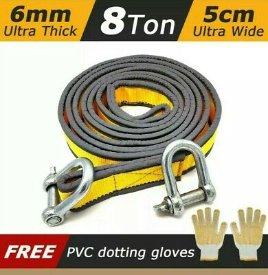 NEW Tow Rope 8T 4x4 Heavy Duty Towing Pull Strap Road Recovery with Two Shackles