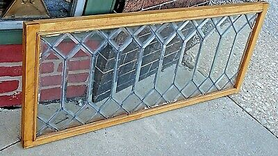 Victorian 52 piece all Beveled leaded stain glass transom window wood framed