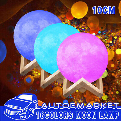10cm RGB 3D LED Moon Lamp 16-Color Lunar NightLight Remote Xmas Decor with Stand