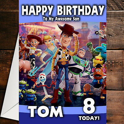 Toy Story 4 Woody Buzz Personalised BIRTHDAY CARD Any Name Age Relation Boys Son