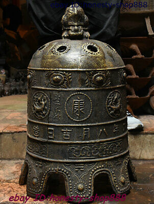 "28"" Antique China Bronze Beast Dragon Loong Ancient Works Bell Clang Gong Clock"