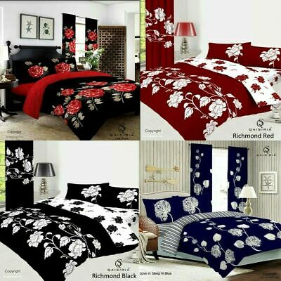 Duvet Set Quilt Cover with Pillow Case Bedding set Single Double King Size UK