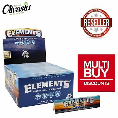 Elements Rolling Paper King Size Slim Rice Paper Skins Booklet Packs Box Genuine
