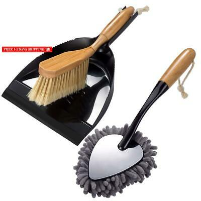 2Pcs Brush And Dust Pan Set And Handheld Duster For Floor Desk Cleaning Comfort