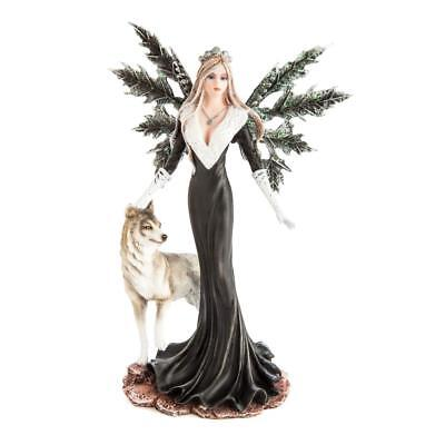 Mystic Worlds Winter Fairy in Black Dress Statue with Wolf Companion