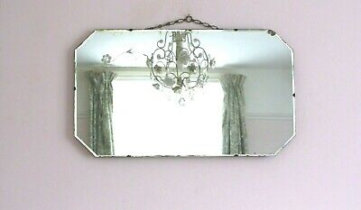 Vintage Art Deco Frameless Floral Etched Bevelled Wall Overmantle Mirror