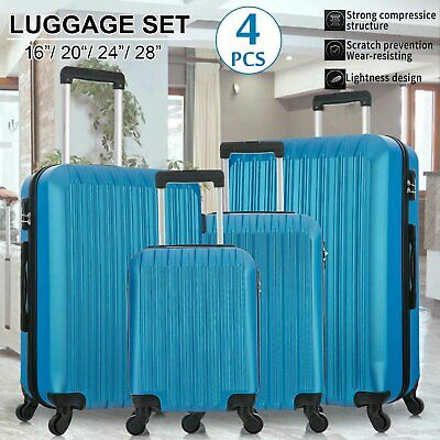 4PCS Suitcase Sets Luggage Travel Business Bag Trolley Spinner ABS Hard Shell