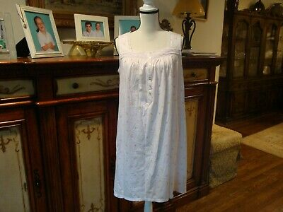 Eileen West,Nwot,White/Floral,Jersey Cotton, Short,Sleeveless Nightgown S