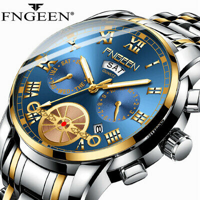 2019 Multifunctional Men's Business Luxury Watch Fashion Waterproof Quartz Watch