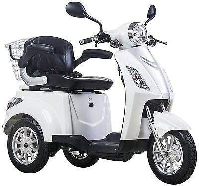 NEW 3 Wheeled WHITE 900W Electric Mobility Scooter FREE FAST DELIVERY + GIFT