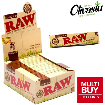 RAW ORGANIC HEMP KING SIZE Slim Genuine Rolling Paper Cigarette Booklets Box