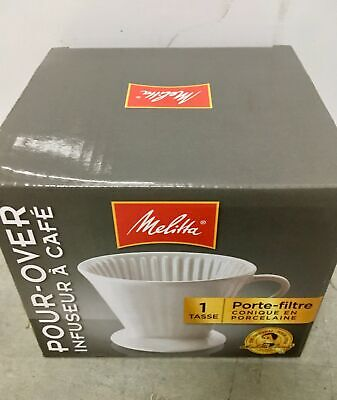 MELITTA Pour-Over Coffeemaker, 1-Cup Coffee Maker, Porcelain Brewing Cone NEW