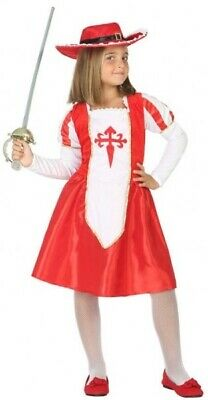 Girls Red Medieval Musketeer World Book Day Fancy Dress Costume Outfit 3-12 yrs