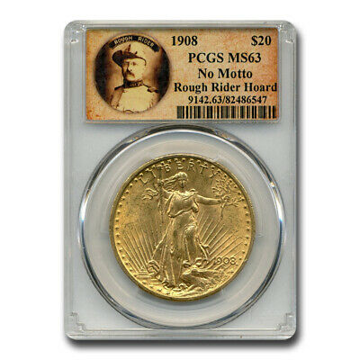 1908 $20 Saint-Gaudens Gold No Motto MS-63 PCGS (Rough Rider) - SKU#195049