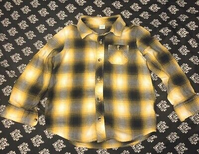 Toddler Boy Yellow & Blue Plaid Button Down Shirt From Old Navy, Size 5T