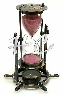 """Nautical Brass Ship Sand Timer 8"""" Antique Maritime Wheel Hourglass With Compass"""