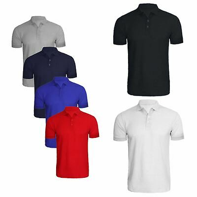 Mens Summer Short Sleeve Polo Shirts Plain Classic Fit Tops Blouse Golf T-shirts
