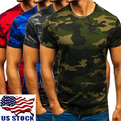 Men Camo T-Shirt Military Short Sleeve Blouse Tee Army Camouflage Tops M-2XL