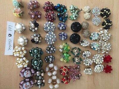 Lot o Vintage costume jewelry CLUSTER BEAD Earrings Pairs Japan Clipon Glass