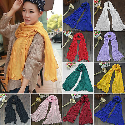 Womens Ladies Long Pashmina Style Candy Colors Wrinkle Cotton Scarf Wrap Shawl
