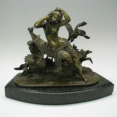 19th C larger bronze statue figure Nude on the Nile Egyptian influence