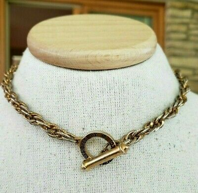6fb057e58 Vtg Designed By Paolo Gucci Gold Tone Rope Chain Choker Necklace Toggle  Clasp