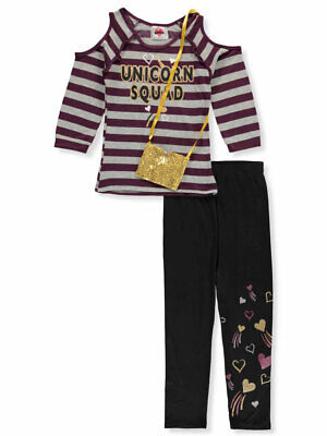 RMLA Girls' 2-Piece Leggings Set Outfit with Purse