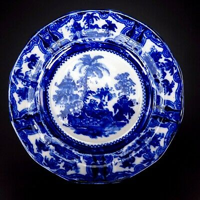Vintage Flow Blue Chinese White Porcelain Plate Asian Design