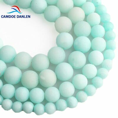 Blue Amazonite Frosted Beads Natural Stone Round Loose Matte DIY- Jewelry Making
