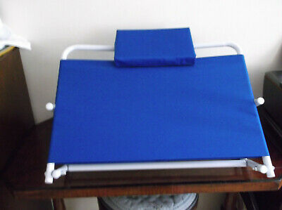 Large adjustable blue & white back rest for bed, beach, or floor. New no tags
