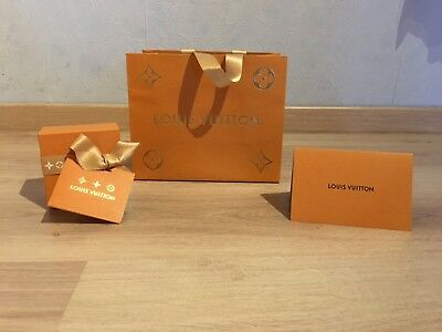 Lots de 3 pieces en papier: Louis Vuitton orange doré + boite