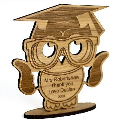 Personalised Thank you Teacher Gift Wooden Owl School Nursery Leaving