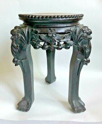 "Antique-CARVED 12-1/2""h  WOOD&MARBLE FOO/LION DOG CHINESE/ASIAN STAND/TABLE~Exc."