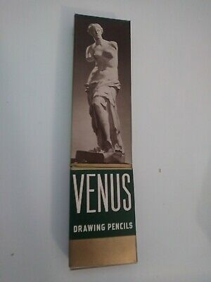 1 Complete box of 12 Vintage Venus Drawing Pencils 3820 H Hard Beautiful