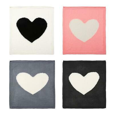 Kids Knitting Blanket Baby Heart Shape Swaddle Wrap Blankets Bedding Quilt  H1