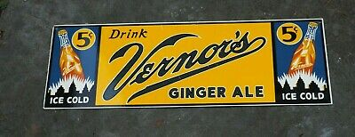 Ande Rooney Vernor's Ginger Ale Porcelain Advertising Sign with Rooney Label