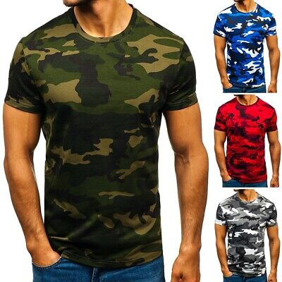Mens City Camouflage Tactical Military Short Sleeve Army Camo T-Shirt Blouse Top