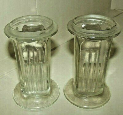Lot of 2 Vtg Antique T.C.W. Co Apothecary Pharmacy Glass Ribbed Jar Containers