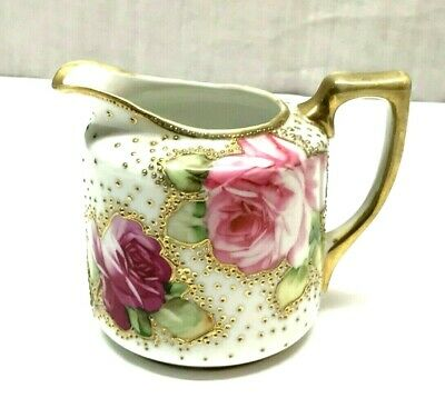 Antique Nippon Hand Painted Roses Creamer Pitcher Moriage Gold Gilt