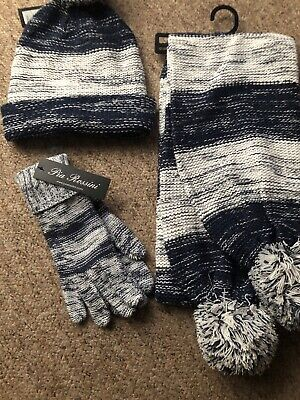 BRAND NEW Ladies Blue/White Hat Scarf and Gloves Set