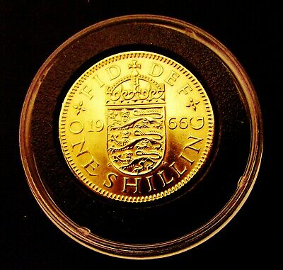 1966 Three Lions Shilling Minted in  Englands' World Cup Year 24k GOLD Plated