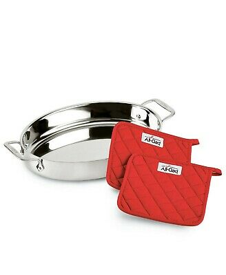 """NEW IN BOX All-Clad Stainless-Steel 15"""" Oval Baker & Pot Holder Set NIB"""