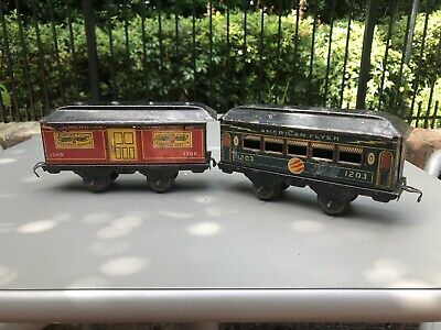 American Flyer Train Tinplate 1200 1203 Lot Two Cars Antique Vintage
