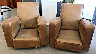 Antique Vintage Mid Century Stylish Shaped Club Chairs Armchairs Pair *Projects*