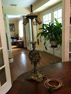 Antique Victorian Miller Handel B&H Style Slag Glass Lamp Base Ornate Art Roses