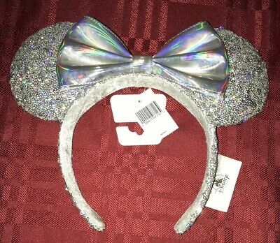 Disney Parks Magic Mirror Holographic Silver Iridescent Minnie Ear Headband