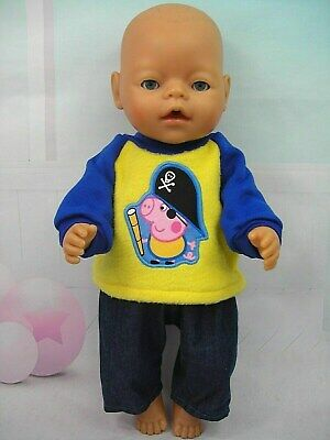 """Dolls clothes for 17"""" Baby Born/Cabbage Patch doll~PEPPA GEORGE TOP~DENIM PANTS"""