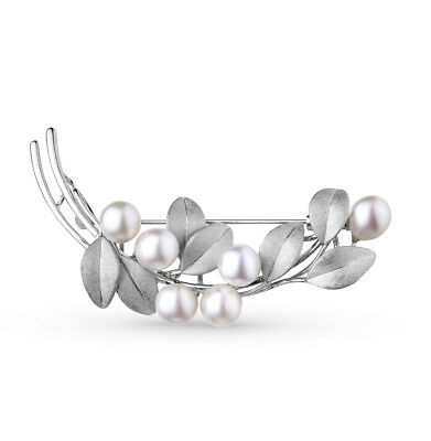 SOLID SILVER 925 Wonderful Brooch with Cultured Pearls NWT