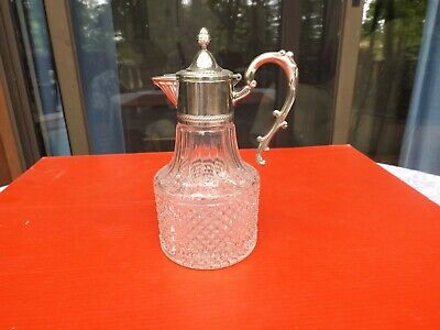 VINTAGE PRESSED GLASS DECANTER PITCHER WITH SILVER PLATED HANDLE and LID