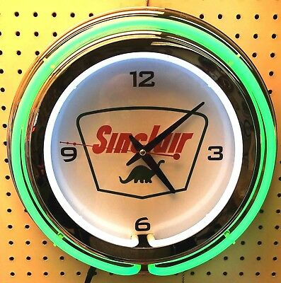 """15"""" Sinclair Dino Sign Double Neon Clock Gas Station Oil"""
